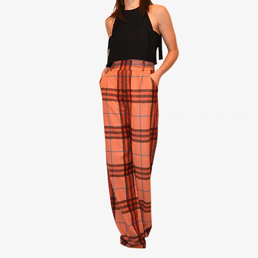 Pantalon large à taille haute, motifs carreaux écossais