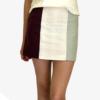 Mini-jupe taille haute tri-matières, coupe trapèze
