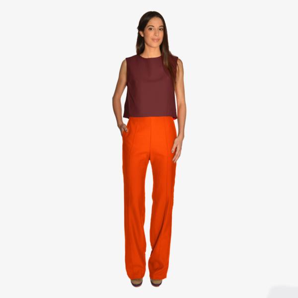 Pantalon large taille haute en flanelle de laine peignée
