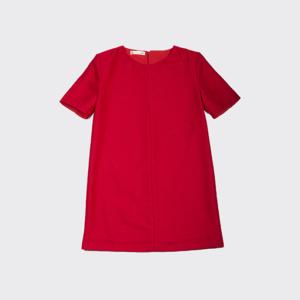 Robe Paula en gabardine de laine rouge