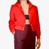 Veste bomber rouge en gabardine de laine