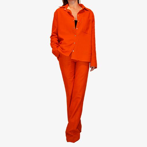 Surchemise femme orange en flanelle de laine
