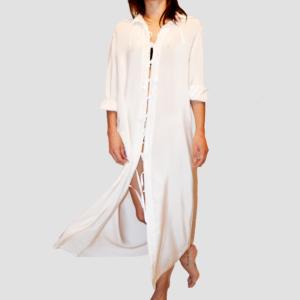 Robe Solange en crêpe de chine blanche, 100% soie